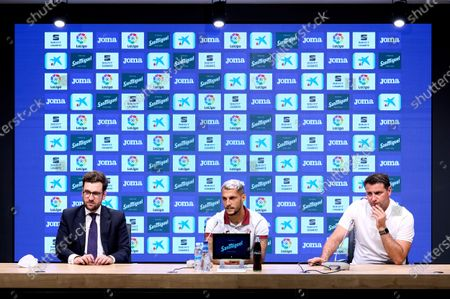 Jon Ander Ulacia and Juan Diego Molina 'Stoichkov' and Cesar Palacios during the presentation of Juan Diego Molina 'Stoichkov' as a new SD Eibar player at Ipurua Stadium on Jul 22, 2021 in Eibar, Spain.
