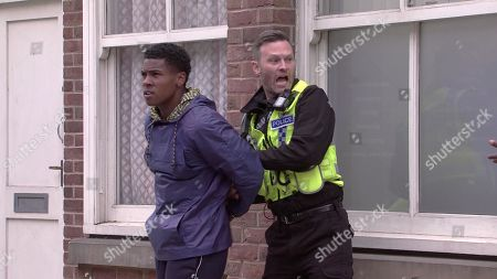 Coronation Street - Ep 10386 Monday 26th July 2021 - 1st Ep Michael Bailey and James Baliey, as played by Nathan Graham, test drive a sports car after James is offered 30k for his interview. A police car pulls them over and when James questions the officer as to why he pulled them over, the officer arrests James for obstruction and handcuffs him. James trips and injures his leg.