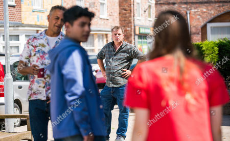 Coronation Street - Ep 10397 Friday 6th August 2021 - 2nd Ep Tracy and Dev Alahan, as played by Jimmi Harkishin, collude to keep the secret of Aadi Alahan, as played by Adam Hussain, and Amy's relationship from Steve McDonald, as played by Simon Gregson, . But when Steve finds a text from Dev to Tracy he gets the wrong end of the stick about the pair, forcing Tracy to tell him about Amy and Aadi. Aadi, Summer Spellman, as played by Harriet Bibby, and Amy round the corner to see Steve launching an attack on Dev for encouraging his son to have sex with Amy.