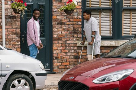Coronation Street - Ep 10392 Monday 2nd August 2021 - 1st Ep Michael Bailey, as played by Ryan Russell, and James Bailey, as played by Nathan Graham, are left disappointed and frustrated.
