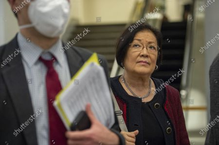 Sen. Mazie Hirono, D-Hawaii, returns to his office after the procedural vote on the bipartisan infrastructure bill at the US Capitol in Washington, DC., on Wednesday, July 21, 2021. The bill failed without strong Republican support.