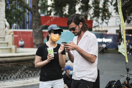 Winston Marshall, former banjoist and lead guitarist of the British folk band Mumford and Sons, is seen during the demonstration.Hongkongers in London gathered on the 2nd year anniversary of the 721 Yuen Long Mob Attack to screen the documentary of the events.