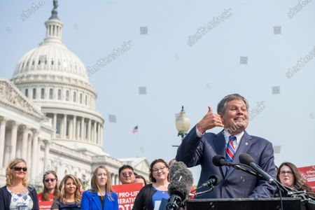 United States Senator Steve Daines (Republican of Montana) offers remarks to introduce pro-life legislation during a press conference outside the US Capitol in Washington, DC,.