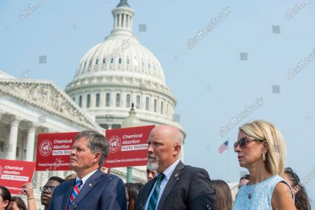United States Senator Steve Daines (Republican of Montana), left, United States Representative Chip Roy (Republican of Texas), center, and United States Representative Mary E. Miller (Republican of Illinois), right, attend a press conference to introduce pro-life legislation during a press conference outside the US Capitol in Washington, DC,.