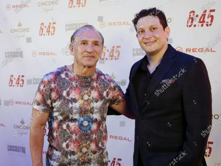 """Ray Mancini and Leonardo Mancini arrive on the red carpet at the """"6:45"""" New York Premiere at Regal Union Square on July 21, 2021 in New York City."""