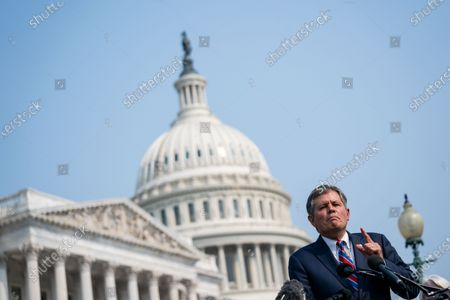 Sen. Steve Daines (R-MT) speaks during a news conference announcing new anti-abortion legislation with Rep. Mary Miller (R-IL) and Rep. Chip Roy (R-TX) on Capitol Hill on Wednesday, July 21, 2021. (Kent Nishimura / Los Angeles Times)