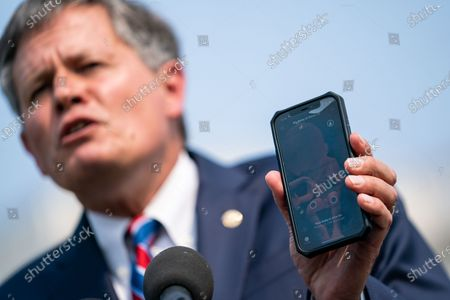 Stock Image of Sen. Steve Daines (R-MT) speaks during a news conference announcing new anti-abortion legislation with Rep. Mary Miller (R-IL) and Rep. Chip Roy (R-TX) on Capitol Hill on Wednesday, July 21, 2021. (Kent Nishimura / Los Angeles Times)