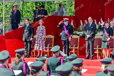 King Philippe and Queen Mathilde, Prince Laurent, Princess Paola, Prince Lorenz during the Military Parade for the National Day