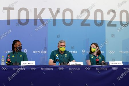 Stock Photo of Patty Mills, Cate Campbell and Ian Chesterman during the press conference on Preliminary Day 2 of the Tokyo 2020 Olympic Games