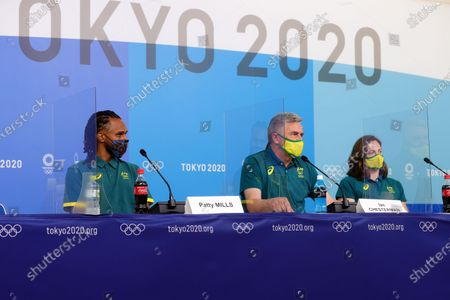 Patty Mills, Cate Campbell and Ian Chesterman during the press conference on Preliminary Day 2 of the Tokyo 2020 Olympic Games