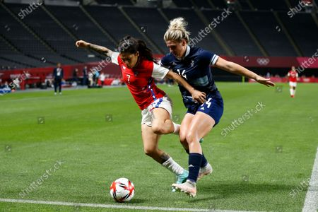 (L-R) Daniela Pardo (CHI), Millie Bright (GBR) - Football / Soccer : Tokyo 2020 Olympic Games Women's football 1st round group E match between Greate Britain 2-0 Chile at the Sapporo Dome in Sapporo, Japan.