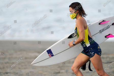 Australia's Sally Fitzgibbons leaves after a training session at the 2020 Summer Olympics, at Tsurigasaki beach in Ichinomiya, Japan