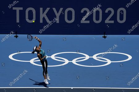 Misaki Doi, of Japan, practices for the women's tennis competition at the 2020 Summer Olympics, in Tokyo