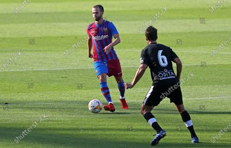 Miralem Pjanic and Ribelles during the friendly match between FC Barcelona and Club Gimnastic de Tarragona, played at the Johan Cruyff Stadium on 21th July 2021, in Barcelona, Spain.