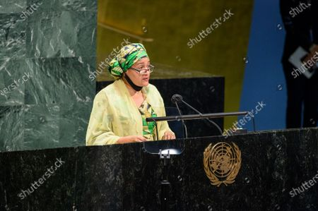 Stock Photo of (210722) - UNITED NATIONS, July 22, 2021 (Xinhua) - UN Deputy Secretary General Amina Mohammed addresses at UN General Assembly meeting to mark Nelson Mandela International Day, which falls on July 18, at the UN headquarters in New York on July 21, 2021.