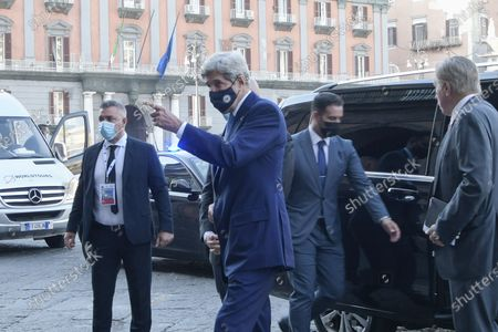 Special Presidential Envoy for Climate John Kerry arrives at Palazzo Reale in Naples, Italy, to take part in a G20 meeting on environment, climate and energy