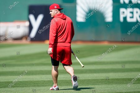 Los Angeles Angels' Mike Trout before a baseball game against the Oakland Athletics in Oakland, Calif