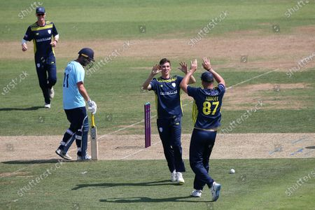 Stock Image of John Turner of Hampshire celebrates taking the wicket of Sir Alastair Cook during Hampshire Hawks vs Essex Eagles, Royal London One-Day Cup Cricket at The Ageas Bowl on 22nd July 2021