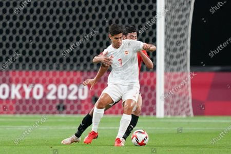 Marco Asensio (7 Spain) battle for the ball (duel) during the Menâ€s Olympic Football Tournament Tokyo 2020 match between Egypt and Spain at Sapporo Dome in Sapporo, Japan.