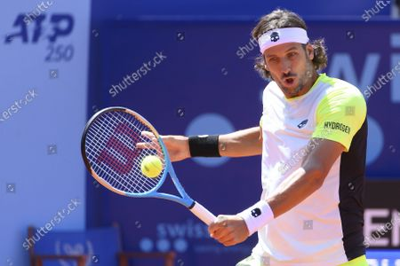Feliciano Lopez of Spain in action during the round of 16 match against Mikael Ymer of Sweden, at the Swiss Open tennis tournament in Gstaad, Switzerland, 22 July 2021.