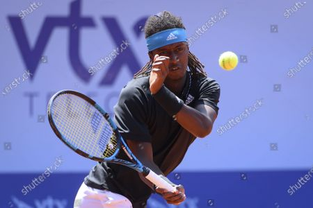 Mikael Ymer of Sweden  in action during the round of 16 match against Feliciano Lopez of Spain, at the Swiss Open tennis tournament in Gstaad, Switzerland, 22 July 2021.