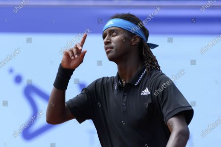 Mikael Ymer of Sweden celebrates his victory during the round of 16 match against Feliciano Lopez of Spain, at the Swiss Open tennis tournament in Gstaad, Switzerland, 22 July 2021.