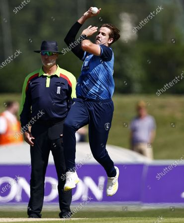 Stock Picture of Matt Quinn bowls for Kent during Kent Spitfires vs Durham, Royal London One-Day Cup Cricket at The Spitfire Ground on 22nd July 2021