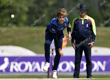 Matt Quinn bowls for Kent during Kent Spitfires vs Durham, Royal London One-Day Cup Cricket at The Spitfire Ground on 22nd July 2021