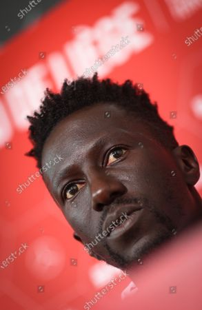 Standard's head coach Mbaye Leye pictured during a press conference of Belgian soccer team Standard de Liege, Thursday 22 July 2021 in Liege, ahead of the first game of the season of the 2021-2022 season of the 'Jupiler Pro League' Belgian soccer championship.