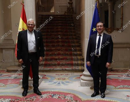 Spanish Foreign Minister, Jose Manuel Albares (R), welcomes the EU High Representative for Foreign Affairs and Security Policy, Josep Borrell, during their meeting at the Viana Palace in Madrid, Spain, 22 July 2021.
