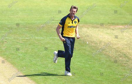Stock Picture of Michael Hogan of Glamorgan celebrates the wicket of Matthew Lamb.