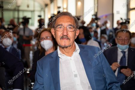 Stock Image of Ignazio La Russa attends the press conference of the candidate mayor Luca Bernardo at Palazzo delle Stelline on July 16, 2021 in Milan, Italy.