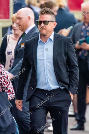 Stock Image of Johnny de Mol attending the private farewell for Peter R de Vries, a well known Dutch journalist.