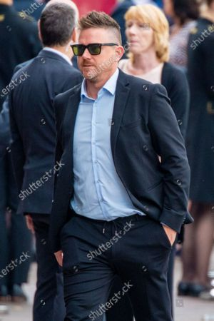 Stock Picture of Johnny de Mol attending the private farewell for Peter R de Vries, a well known Dutch journalist.