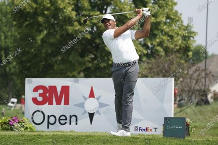 Jhonattan Vegas hits a tee shot on the seventh hole during the second round of the 3M Open golf tournament in Blaine, Minn