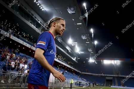 Stock Picture of Basel's Michael Lang reacts after the UEFA Conference League second qualifying round, first leg soccer match between FC Basel and FK Partizani Tirana in Basel, Switzerland, 22 July 2021.