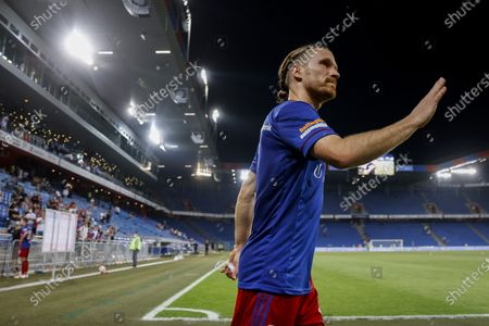 Basel's Michael Lang reacts after the UEFA Conference League second qualifying round, first leg soccer match between FC Basel and FK Partizani Tirana in Basel, Switzerland, 22 July 2021.