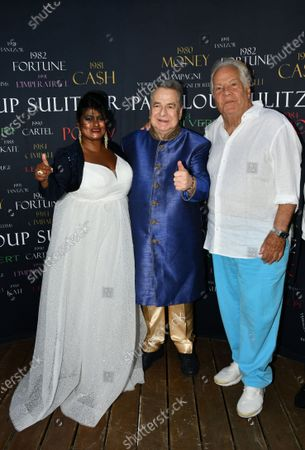 Stock Picture of Paul Loup Sulitzer and Massimo Gargia On the Birthday of Paul Loup Sulitzer at the Hotel de Paris in Saint Tropez.
