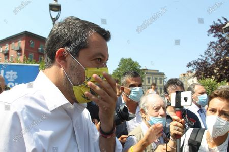 Stock Image of Matteo Salvini in Naples . The leader of the LEGA NORD ,for an political kermesse.In pictures Matteo Salvini