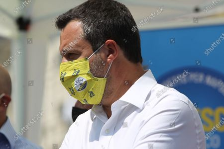 Matteo Salvini in Naples . The leader of the LEGA NORD ,for an political kermesse.In pictures Matteo Salvini