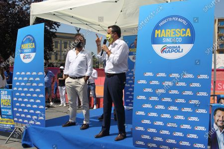 Matteo Salvini in Naples . The leader of the LEGA NORD ,for an political kermesse.In pictures in order L to R: Catello Maresca candidate for mayor of Naples and Matteo Salvini  leader of the LEGA NORD