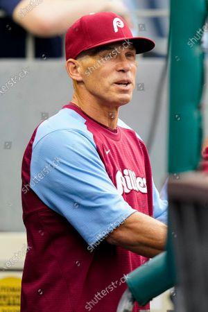 Philadelphia Phillies manager Joe Girardi looks on during a baseball game against the Atlanta Braves, in Philadelphia