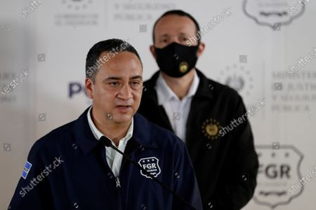 The attorney general, Rodolfo Delgado, speaks during a press conference today at the Central Police Investigations Division in San Salvador, El Salvador, 22 July 2021. The Prosecutor's Office of El Salvador issued an arrest warrant against ex-president Salvador Sanchez Ceren (2014-2019) for his alleged participation in the embezzlement of 351 million US dollar when he was vice president of the Government of his predecessor, Mauricio Funes, the prosecutor reported this Thursday.