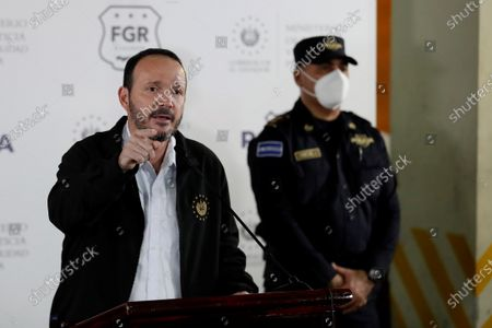 The Minister of Justice and Security, Gustavo Villatoro, speaks during a press conference today, at the Central Police Investigations Division, El Salvador, 22 July 2021. The Prosecutor's Office of El Salvador issued an arrest warrant against ex-president Salvador Sanchez Ceren (2014-2019) for his alleged participation in the embezzlement of 351 million US dollar when he was vice president of the Government of his predecessor, Mauricio Funes, the prosecutor reported this Thursday.