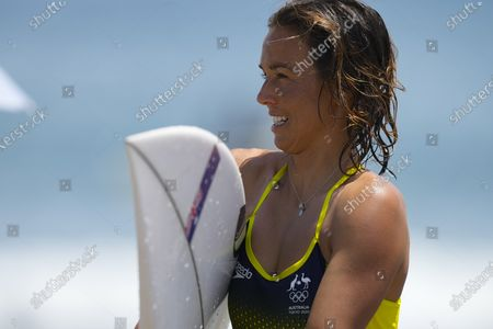 Sally Fitzgibbons from Australia after a training session at the Tsurigasaki Surfing Beach, Ichinomiya, Japan 23 July 2021. Surfing will debut as an Olympic sport for the first time in history when competition begins on 25 July 2021.