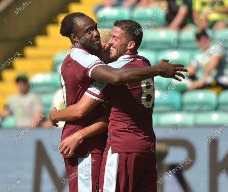Michail Antonio and Pablo Fornals of West Ham United celebrate with Said Benrahma after he scores