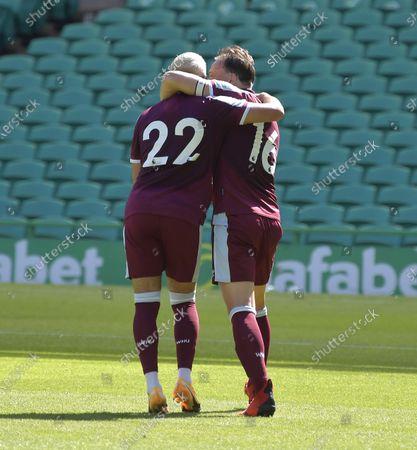 Mark Noble of West Ham United celebrates his goal with Said Benrahma