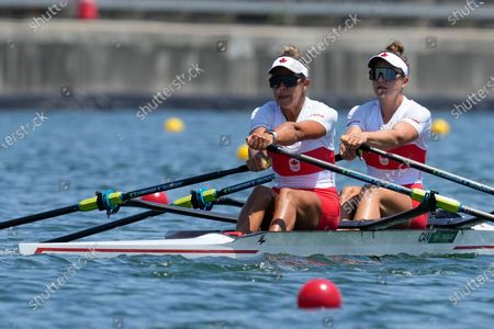 Stock Photo of Jessica Sevick and Gabrielle Smith, of Canada, competes in the women's double sculls at the 2020 Summer Olympics, in Tokyo, Japan