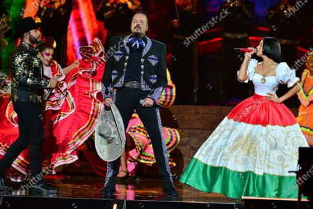 Stock Picture of Leonardo Aguilar, Pepe Aguilar and Angela Aguilar perform onstage