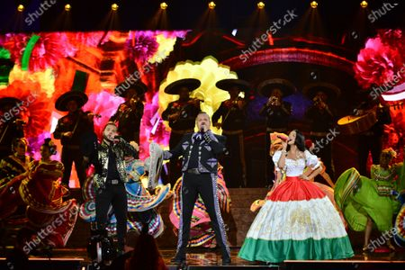 Leonardo Aguilar, Pepe Aguilar and Angela Aguilar perform onstage